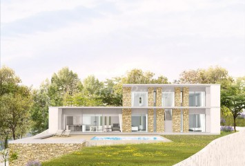 Beautiful villa under construction  with open views to the beach and hills for sale in Sa Riera